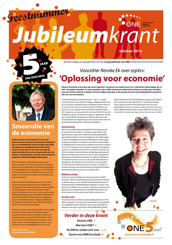 ONE Jubileumkrant voorpagina